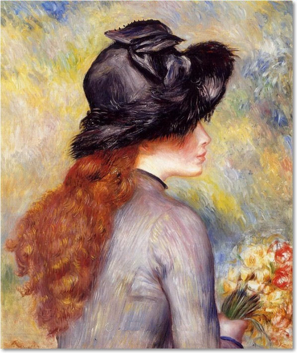 Pierre Auguste Renoir - Young Girl Holding At Bouquet Of Tulips