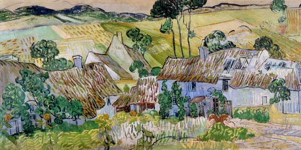 Vincent van Gogh - Thatched houses in front of a hill